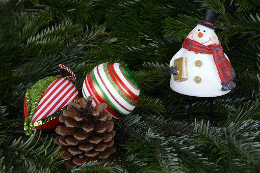 Snowman, Christmas, Christmas Balls, Balls, Pine Cones