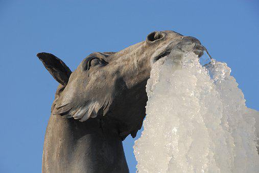 Horse, Statue, Ice, Gel, Winter, Cold, Stalactite
