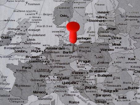 Atlas, Map, Berlin, Pin, Meeting Point, Destination