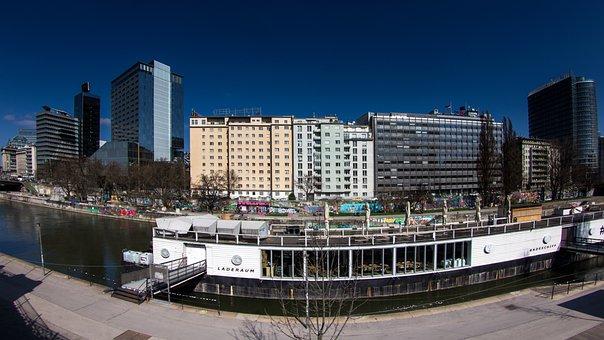 Vienna, Downtown, Panorama, Danube, Fisheye Perspective