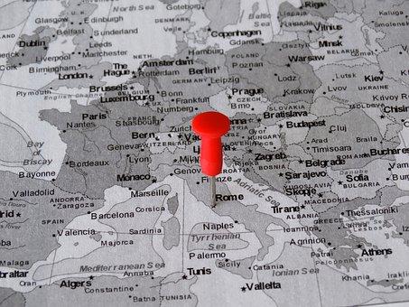 Atlas, Map, Rome, Pin, Meeting Point, Destination