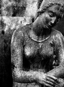 Cemetery, Black White, Image, Grief, Sculpture