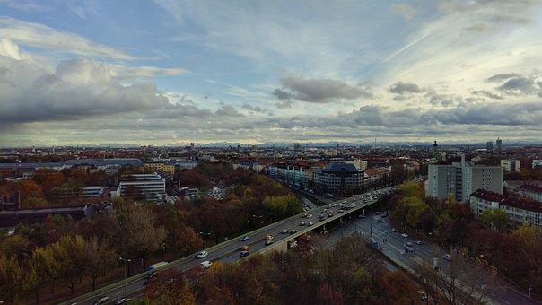 Munich, Clouds, Cloudy, Mountains, Sky, Bavaria, View