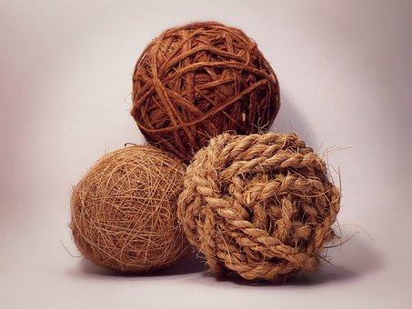 Three Balls, Sphere, Decoration, Brown, Rope, Ball