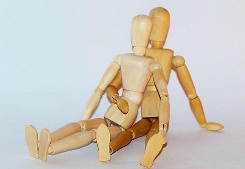 Lovers, Unity, Together, Pair, Wooden Figures, Sit