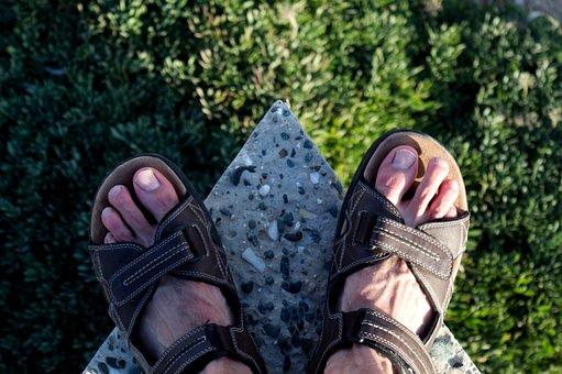 Feet, Standing, Concrete, Edge, Sandals, Drop, Above