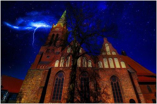 Church, Hdr, Flash, Dark, Evening, Nienburg Weser