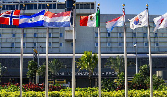 Miami, Airport, International, Flags, Entrance, World