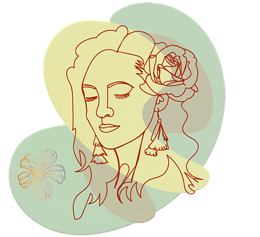 Monoline Art, Woman Face, Abstract, Floral, Shapes