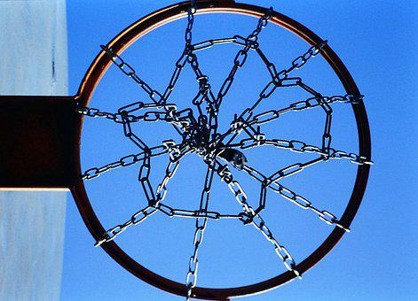 Basketball, Hoop, Sports, Net, Chain, Sky