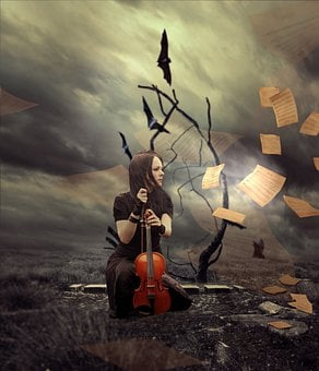 Violinist, Fantasy, Inspiration, Flying, Paper