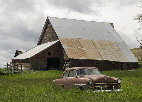 Barn Find, Vintage, Car, Rust, Transportation