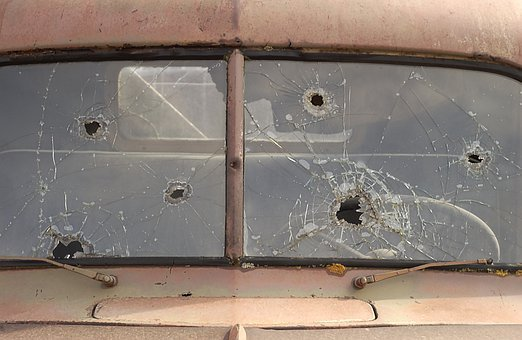 Old Truck Window, Gun Shot Holes, Shotgun Holes, Damage