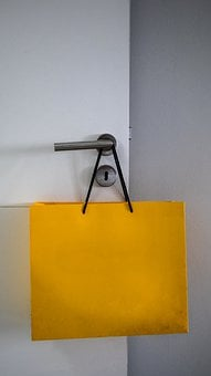 Shopping, Bag, Carton, Yellow, Door, Wall, Sale, Buy