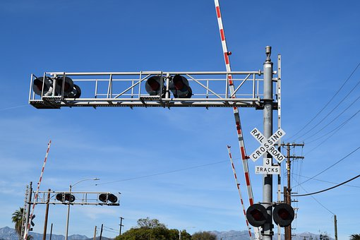 Railroad, Sign, Signal, Intersection, Pomona, Blue Sky