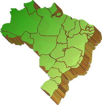 Map, Map Of Brazil Division, States, Extrusion