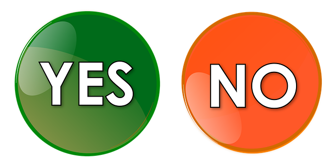 Yes, No, Button, Orange, Green, Icon, Symbol, Sign