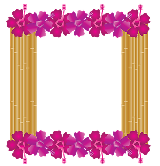 Hibiscus Frame, Bamboo Frame, Hawaiian, Tropical