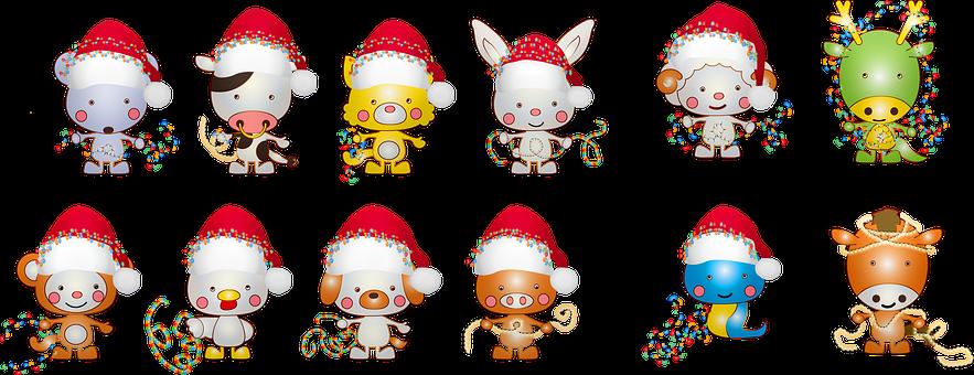 Christmas Animals, Santa Hat, Dog, Cat, Snake