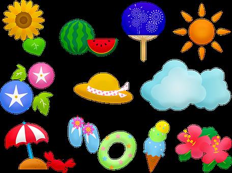 Ice Cream, Summer, Watermelon, Sun, Hibiscus, Sunflower