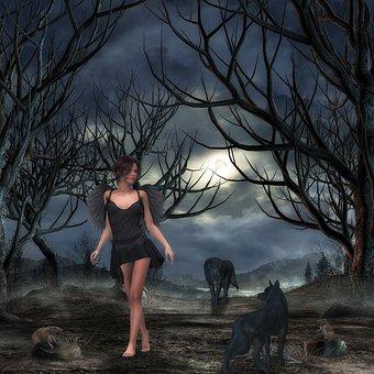 Fantasy, Woman, Wolves, Rat, Angel, Black Engel, Forest