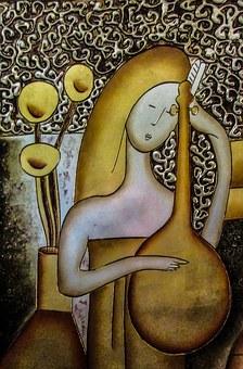 Copper Engraving, Art, Music, Girl