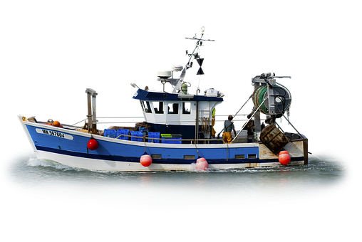 Isolated, Fishing Boat, At Sea, Blue, Fishing, Working
