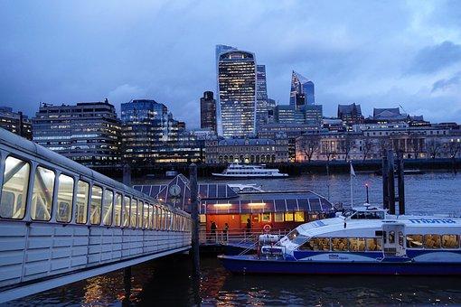 River Thames, River, Dusk, City, Boat
