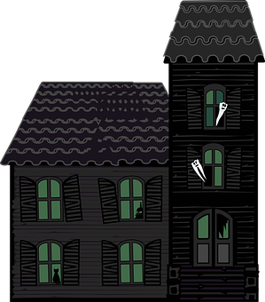 Graphic, Haunted House, House, Halloween, Victorian