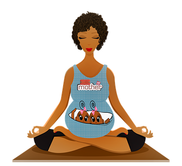 Pregnant Woman Yoga, Afro American, Pregnant, Lady
