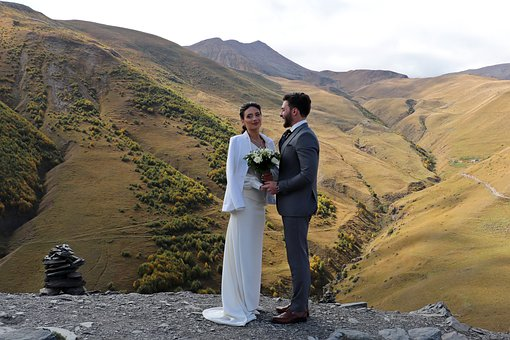 Georgia, Wedding, Gergeti, Mountains, Height, Love