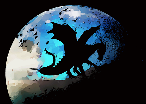 Dragon, Moon, Birds, Planet, Fantasy, Sky, Night