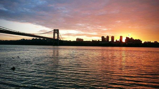 Bridge, Sunrise, Landscape, Nyc, Usa