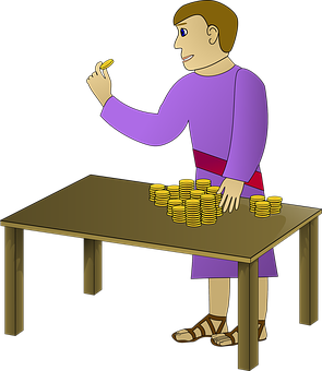Man, Counting, Money, Coins, Gold, Wealthy, Rich