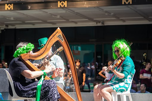 St Patrick's, Day, Irish, Harp, Band, Musicians, Violin
