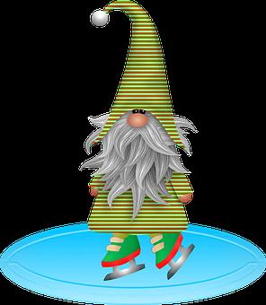 Gnome Ice Skating, Christmas Gnome, Imp, Elf, Bart