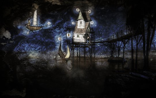Fairy World, Night, Art, Boat, Airship, Lights, Houses