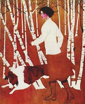 Vintage, Painting, Lady, Woman, Woods