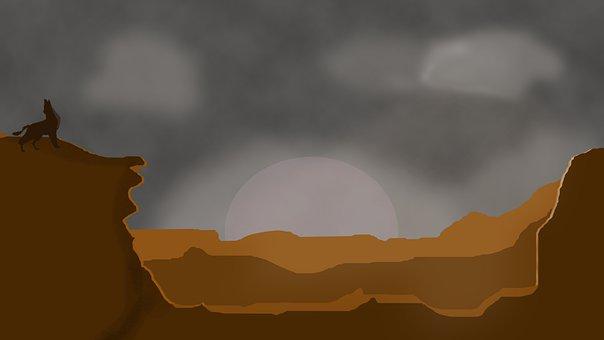 Wolf, Mountains, Lonely Wolf, Landscape, Predator, Fog