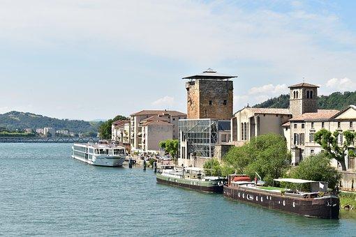 Vienne, France, Historic, River, Rhône, Sky, Blue