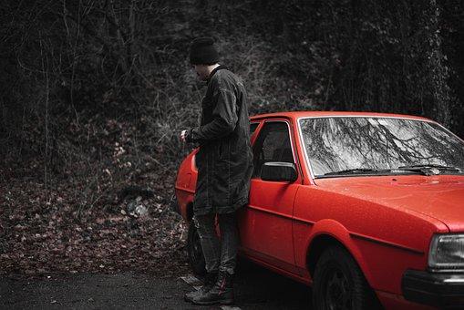 Oldschool, Red, Automobile, Vintage