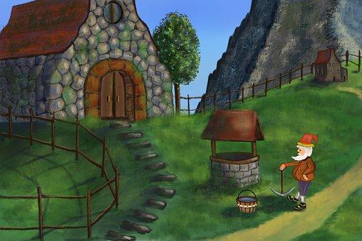 Dwarf, Village, House, Stone, Mountains, Landscape