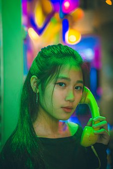 Woman, Call, Telephone, Phone, Hongkong, Potrait, Green