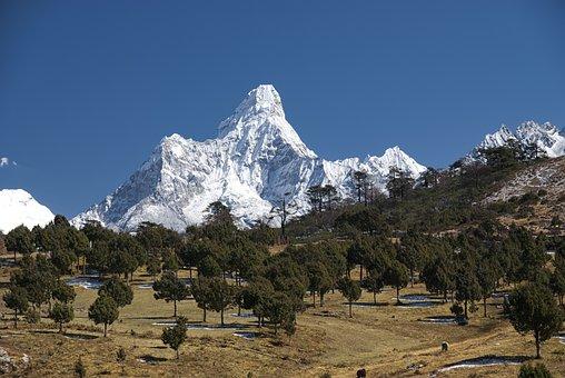 Nepal, Himalayas, Mountain, Landscape, Snow, Cold, Rock