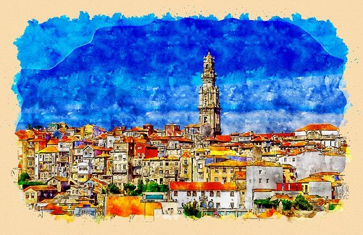 Old Town Porto With Clerigos Tower, Aquarelle