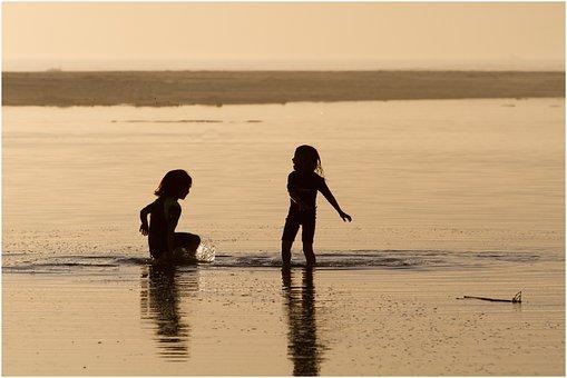 Sunset, Girls, Lagoon, Playing, Splash, Sisters, People