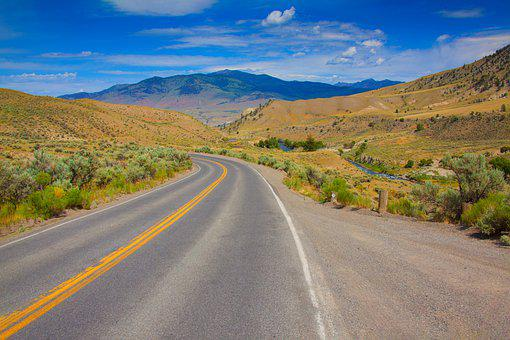 Road, Scenic, Water, Mountains, Montana, Countryside