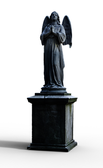 Angel, Statue, Isolated, White, Transparent, Sculpture