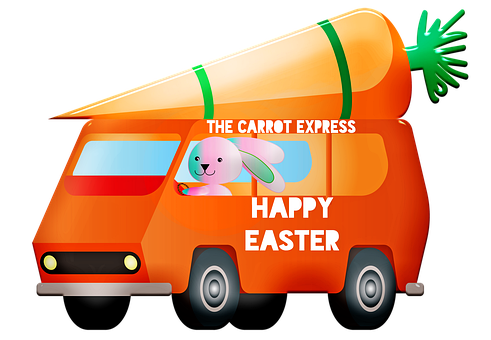 Easter Car, Happy Easter, Van, Carrot, Bunny, Auto
