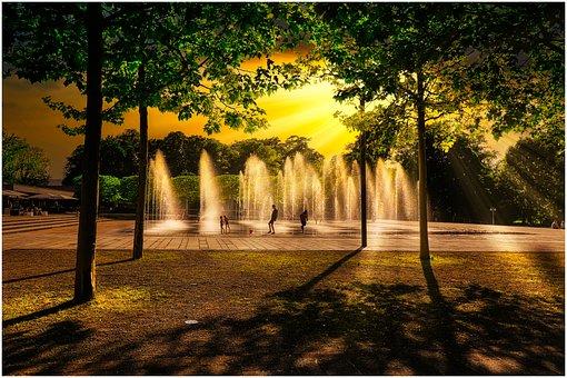 Children, Water, Play, Fountain, Joy, Luck, Sunset, Fun